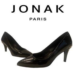 JONAK Paris black patent leather pumps